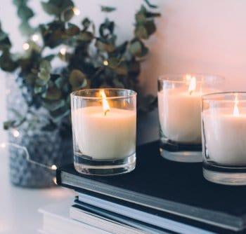 lit candle decorations