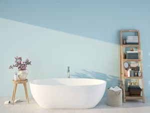 muted pastel bathroom colour