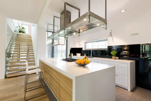 large open plan kitchen with storage island