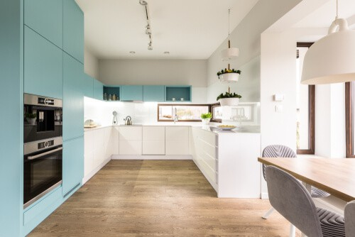 white splashback blue kitchen