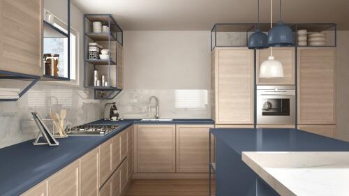 clear glass splashback blue kitchen