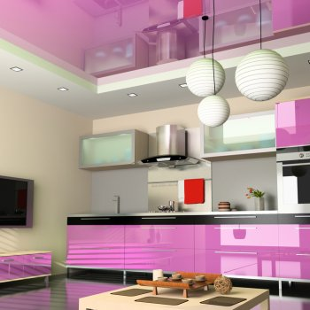 pink kitchen glass splashback