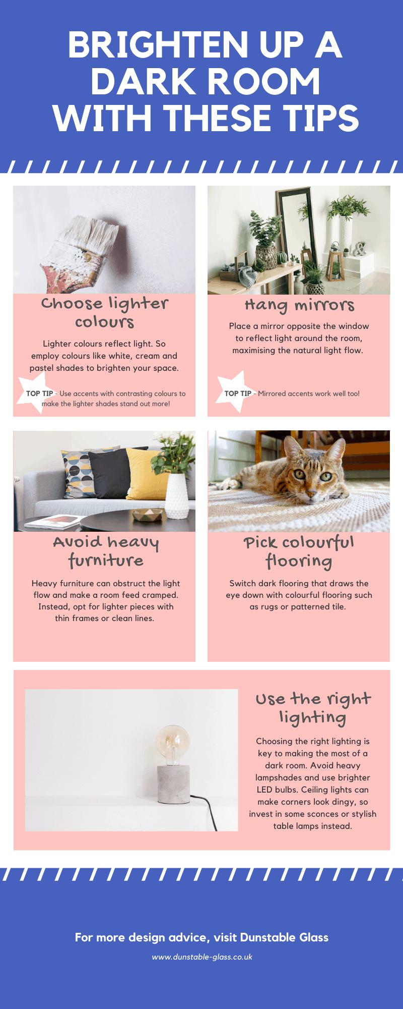 brighten up a dark room infographic