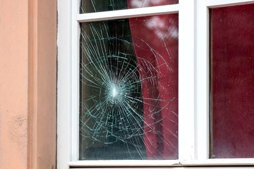 smashed window pane